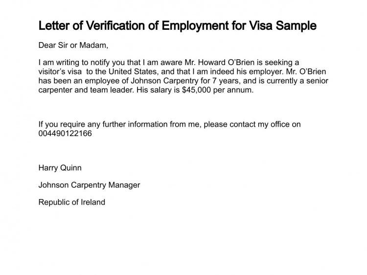 employment letter for visa