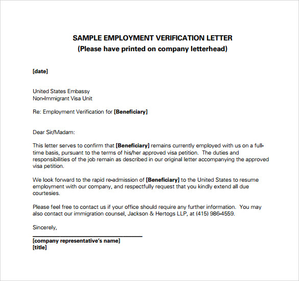 Employment Verification Letter 14+ Download Free Documents in