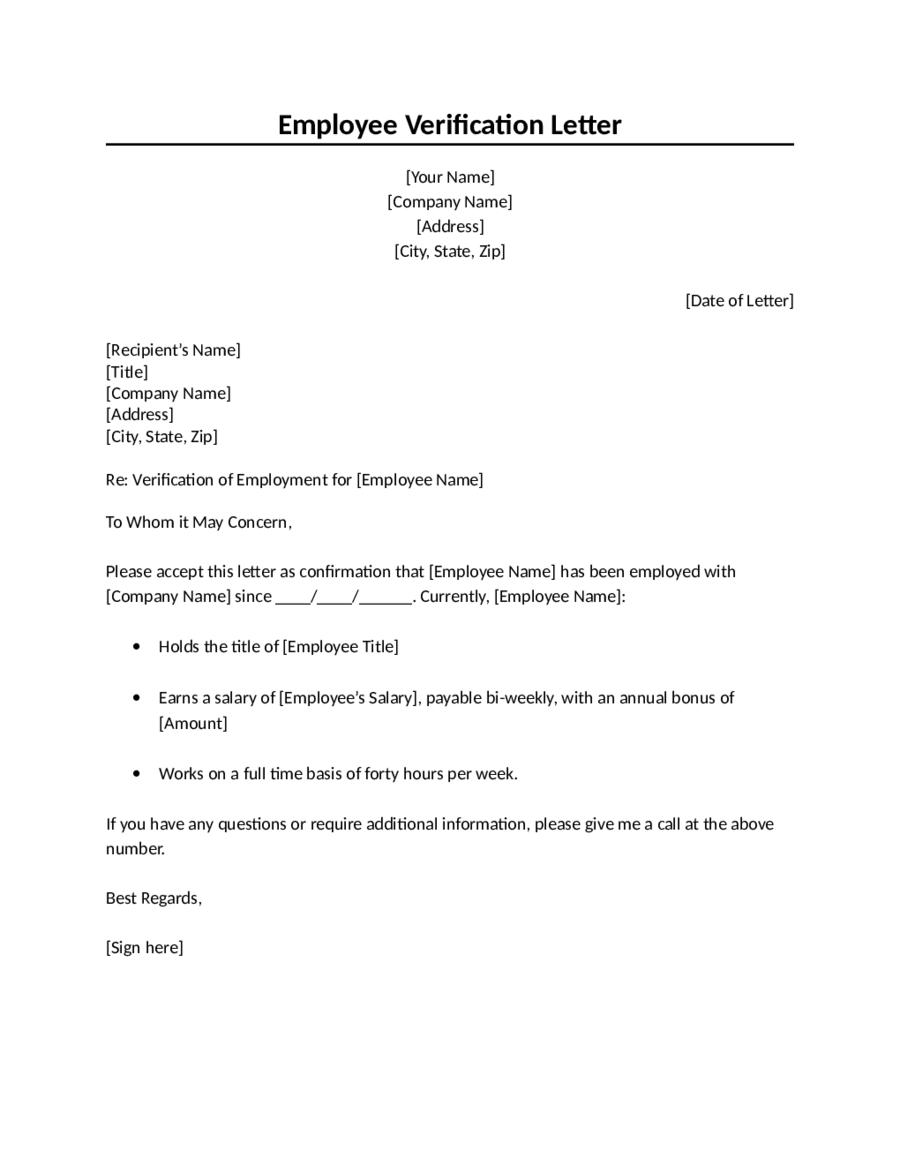 Proof of Employment Letter Sample Employment Verification Letter