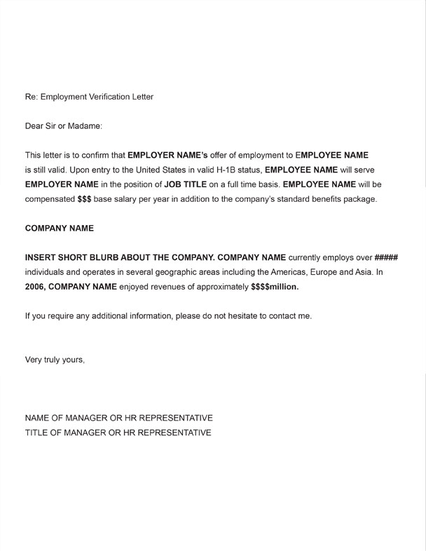 H 1B Employment Verification Sample Letter