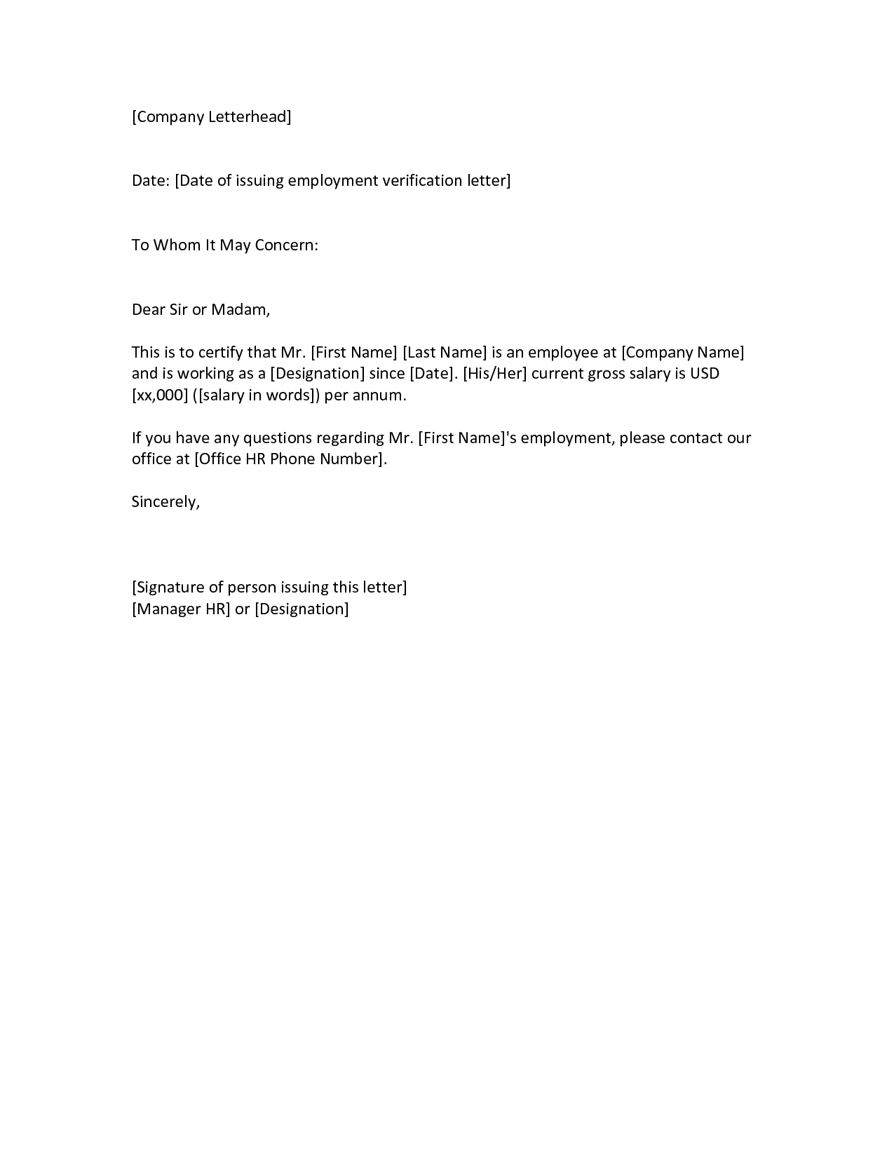 Examples Of Employment Verification Letter 53. Examples Of  Examples Of Employment Verification Letters