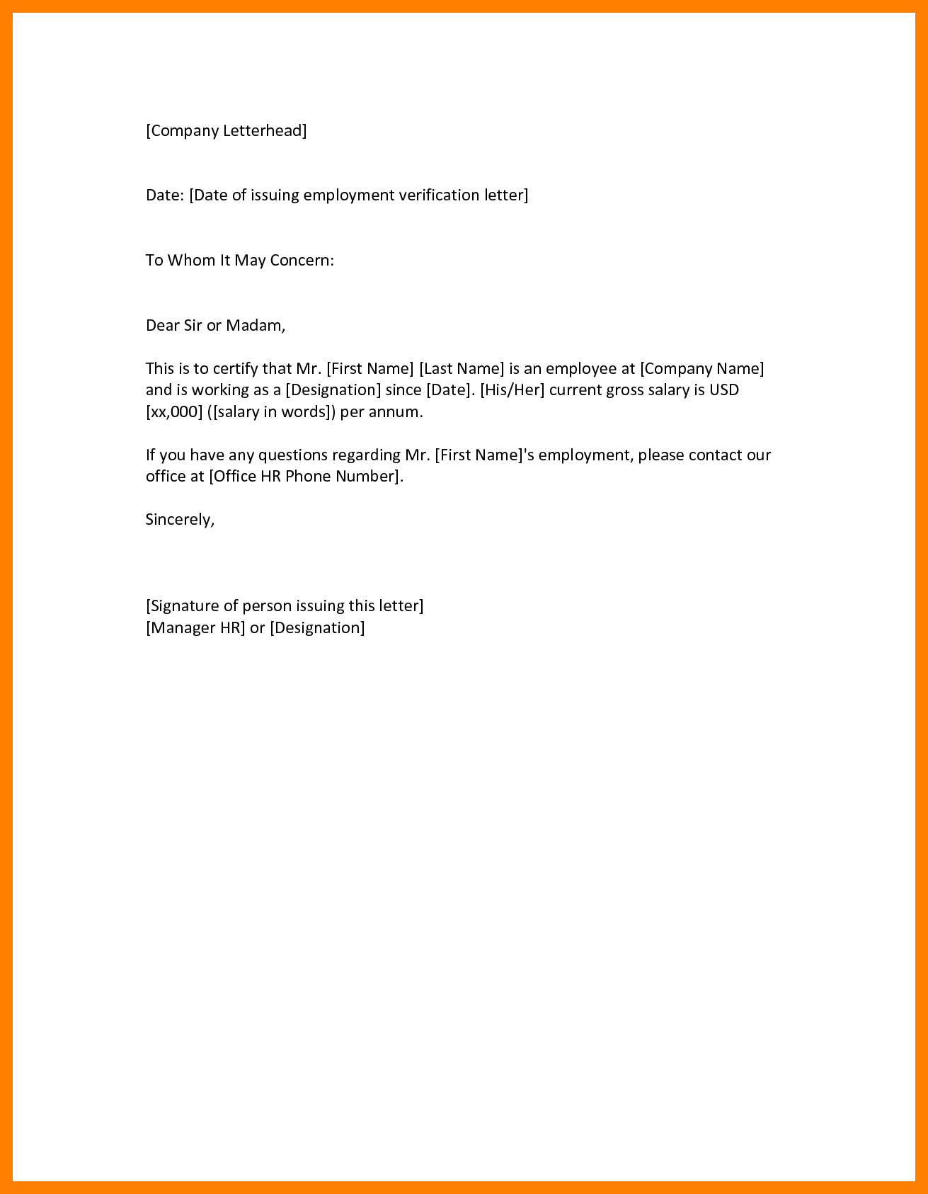 covering letter to whom it may concern - employment verification letter to whom it may concern