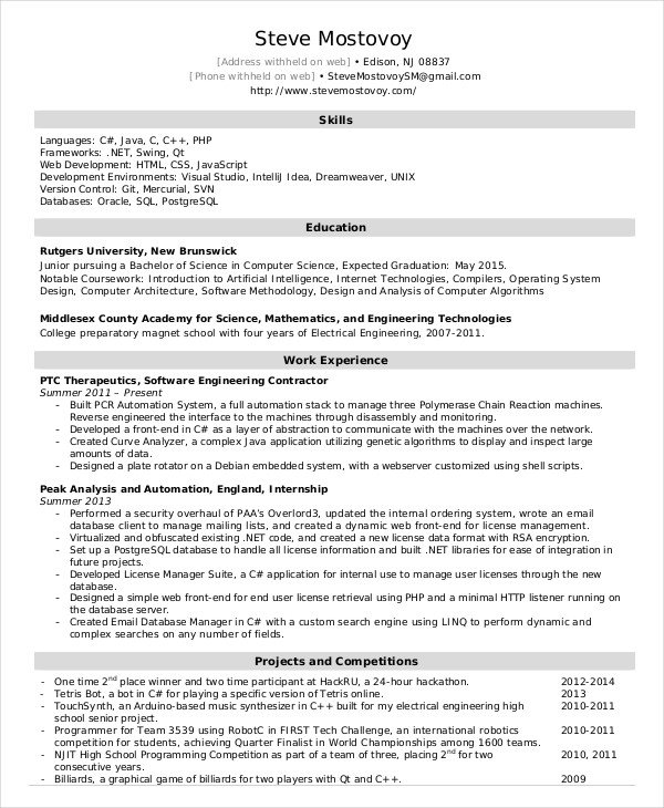 Software Engineer Resume Example 9+ Free Word, PDF Documents