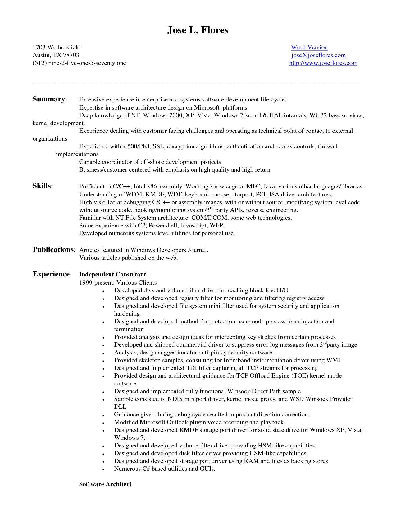 Entry Level Software Engineer Resume Samples : Vinodomia
