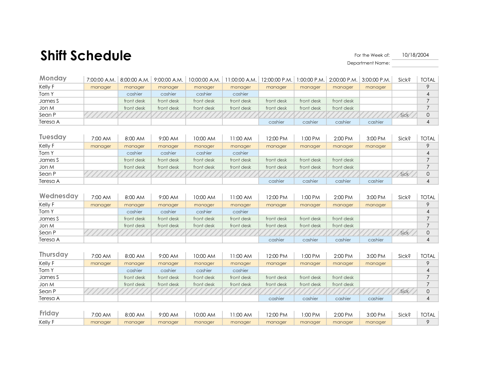 Employee Schedule Template Excel | Best Business Template
