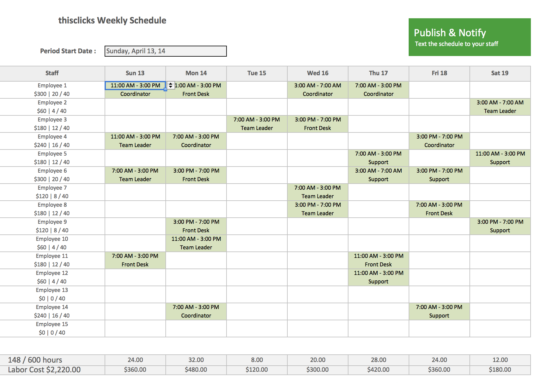 Employee Schedule Template Excel | Best Business Template