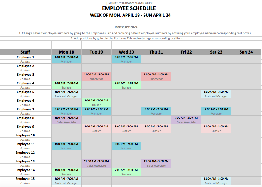 Schedule Template in Excel and Word Format
