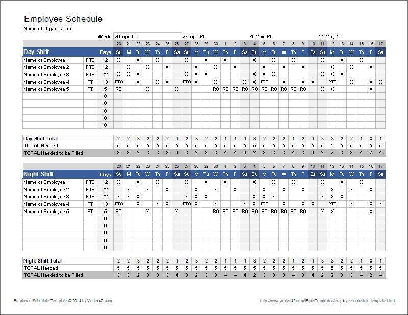 Employee Schedule Template | Shift Scheduler