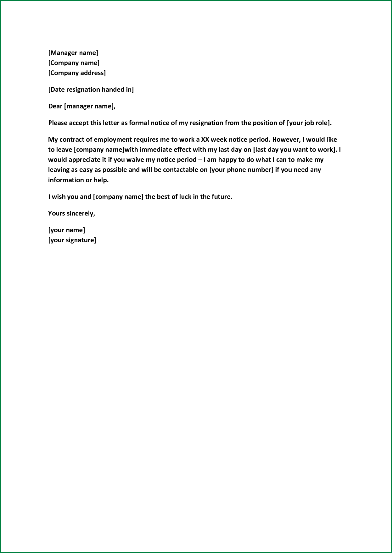 Formal Resignation Letter Sample With Notice Period
