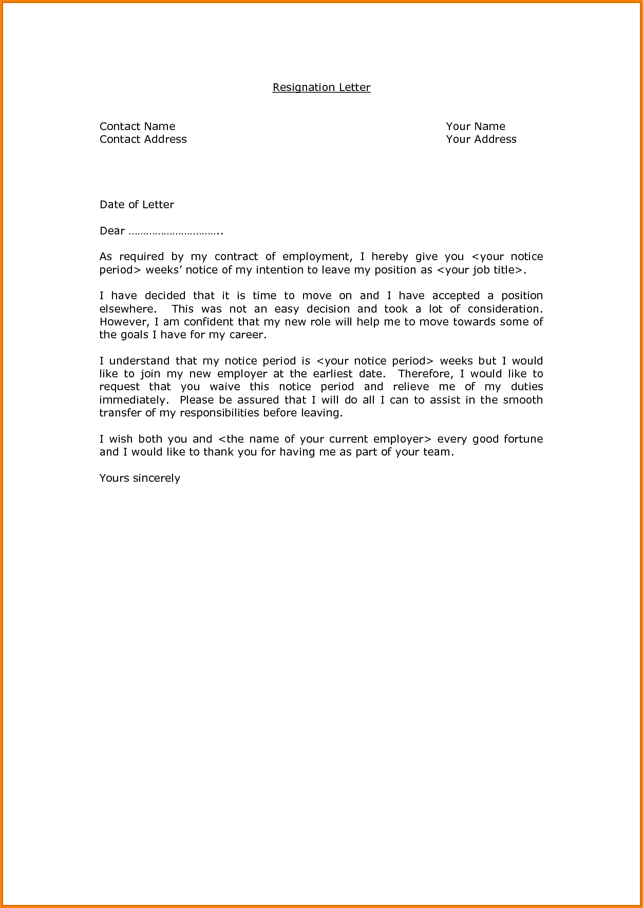 Formal Resignation Letter with Notice Period | employment