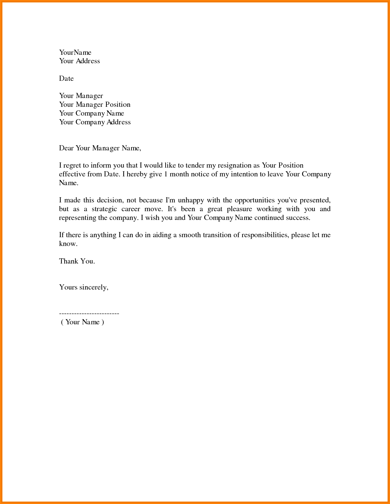 Resignation Letter Format: Easy Possible Contactable Resignation