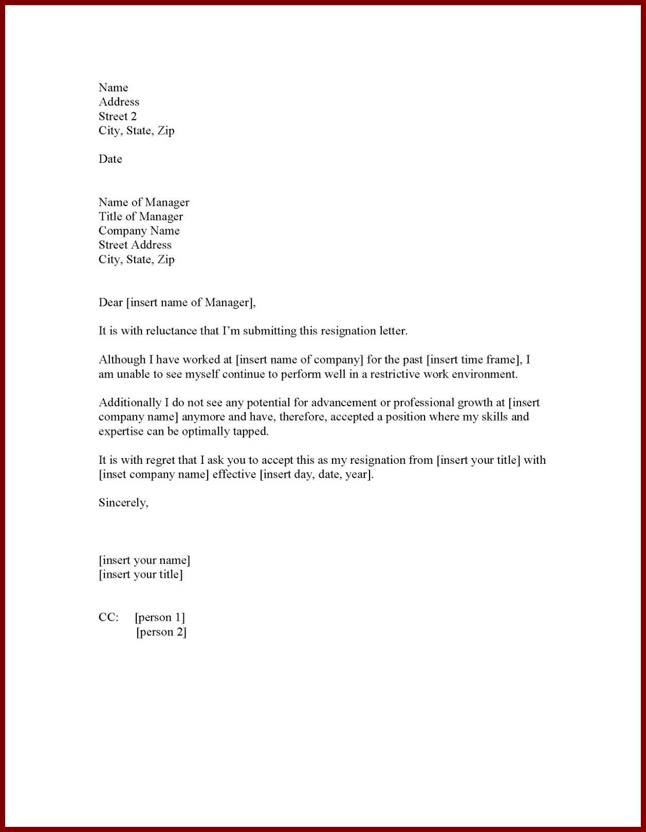 Resignation Letter : One Month Notice Period Resignation Letter