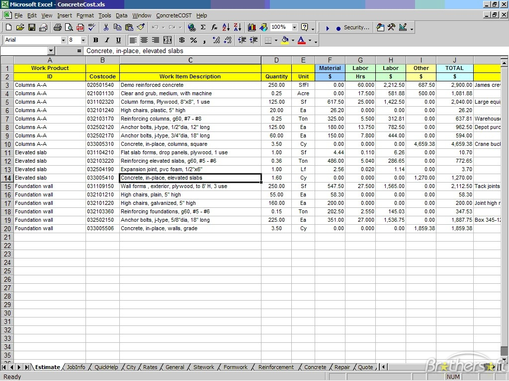 free construction estimate template excel thebridgesummit.co