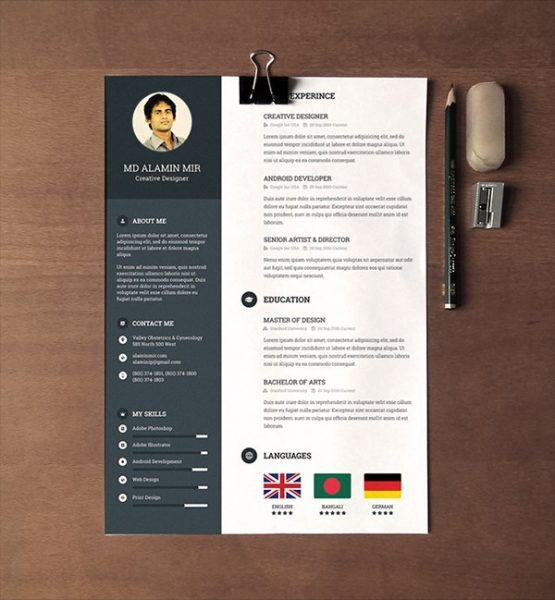 free creative resume template doc
