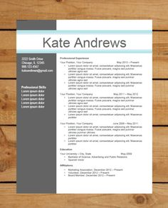 Resume Template / CV Template The Elizabeth Grant Resume Design