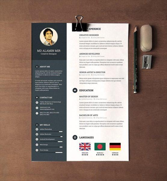 28 Minimal & Creative Resume Templates PSD, Word & AI (Free
