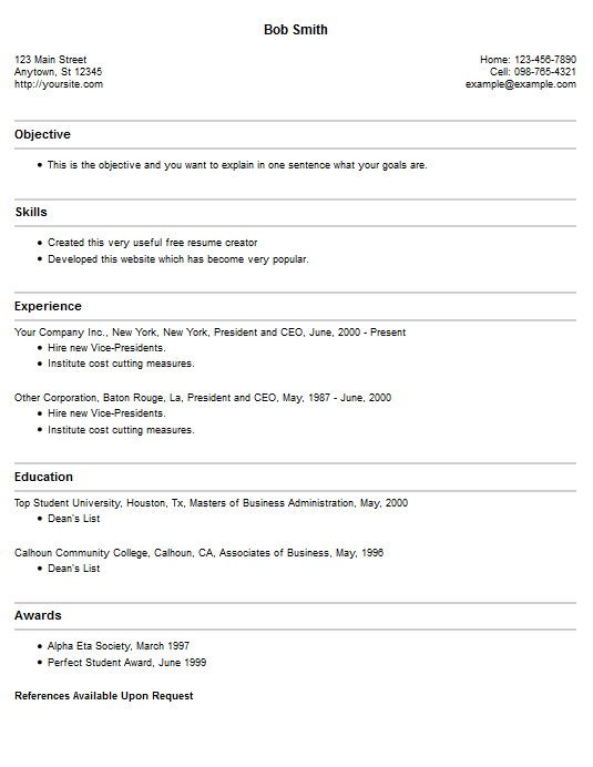 Resume Example 4 Free Resume Creator
