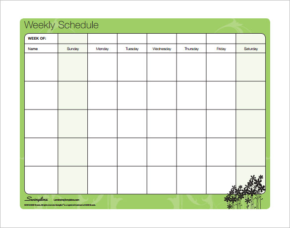 Blank Work Schedule Template 6+ Free Word, Excel Documents