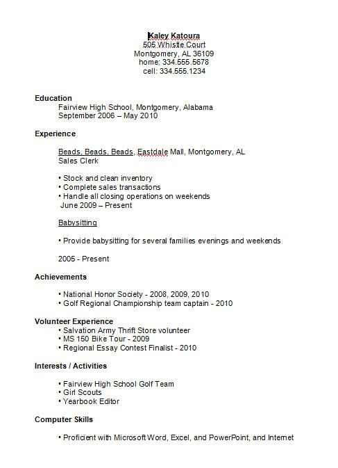 Simple Resumes Examples. High School Student Resume Example You