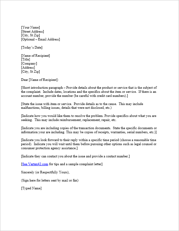 Letter Of Complaint Template Task List Templates