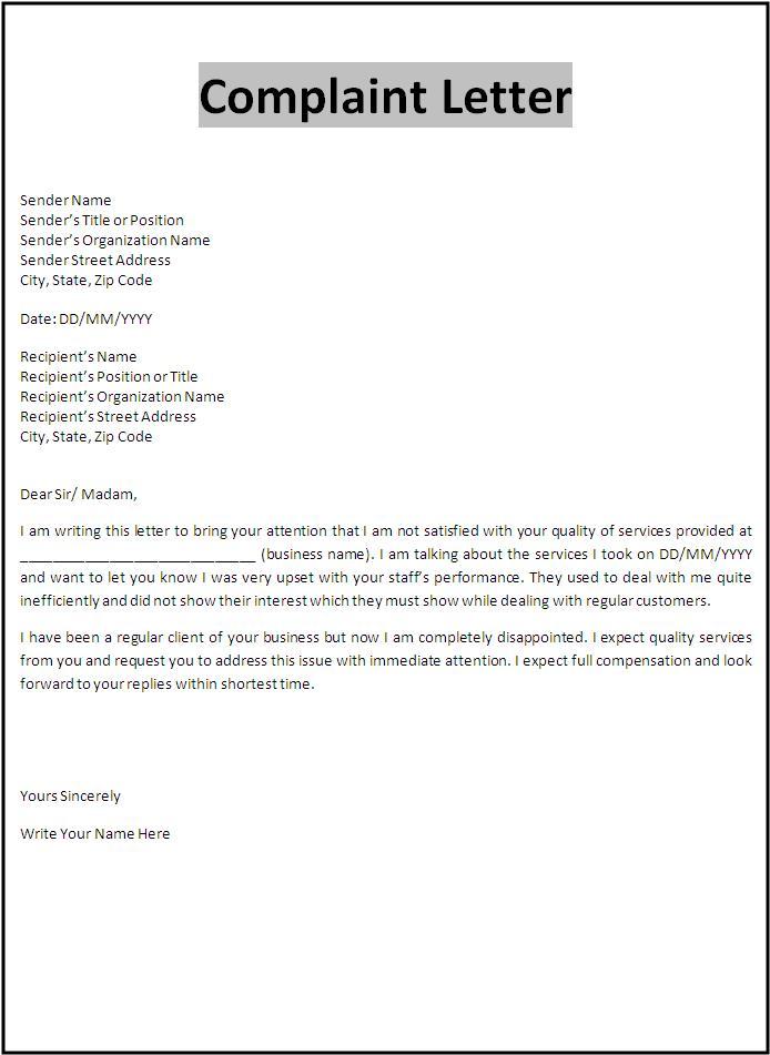 Online Complaint Letters Template Bad Service : Vlcpeque