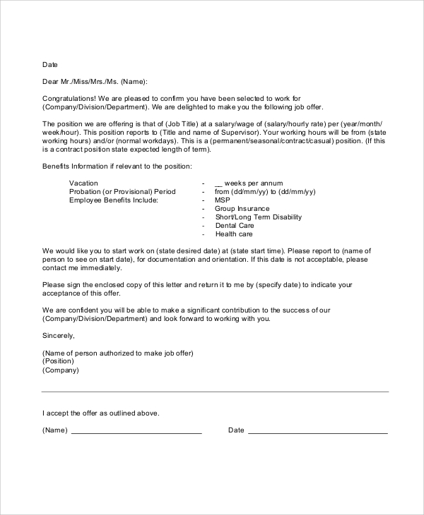employment offer letter thebridgesummit.co