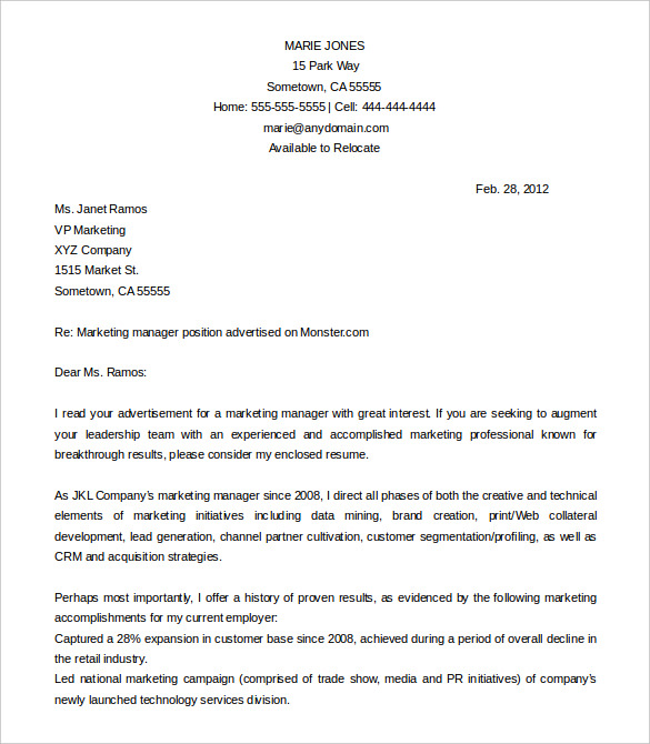 Free Cover Letter Template 52+ Free Word, PDF Documents   Free