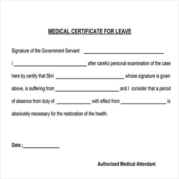 Medical Certificate Template 20+ Free Word, PDF Documents