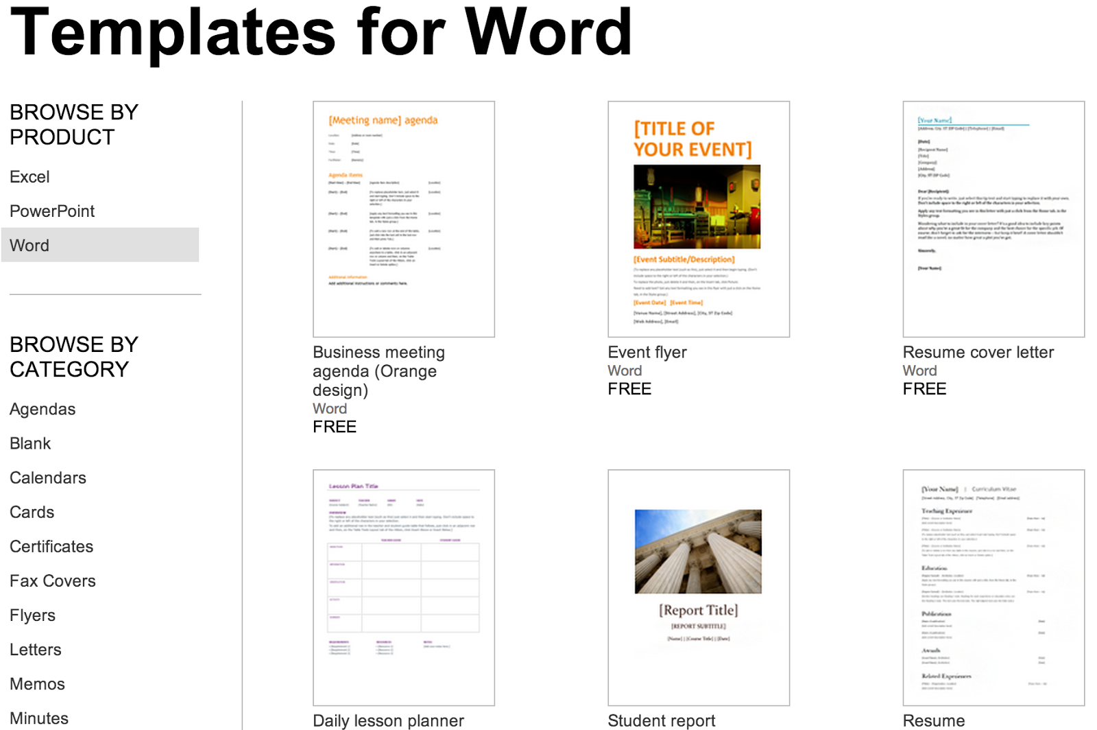 Over 250 Free Microsoft Office Templates & Documents