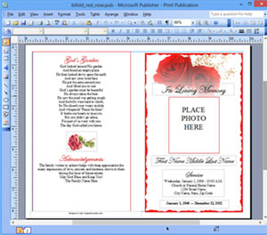 Funeral Program Template Microsoft Publisher | Memorial MS Publisher