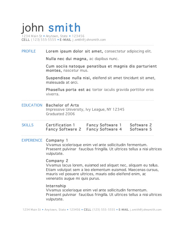 Resume Template Word. Free Professional Resume Templates Download