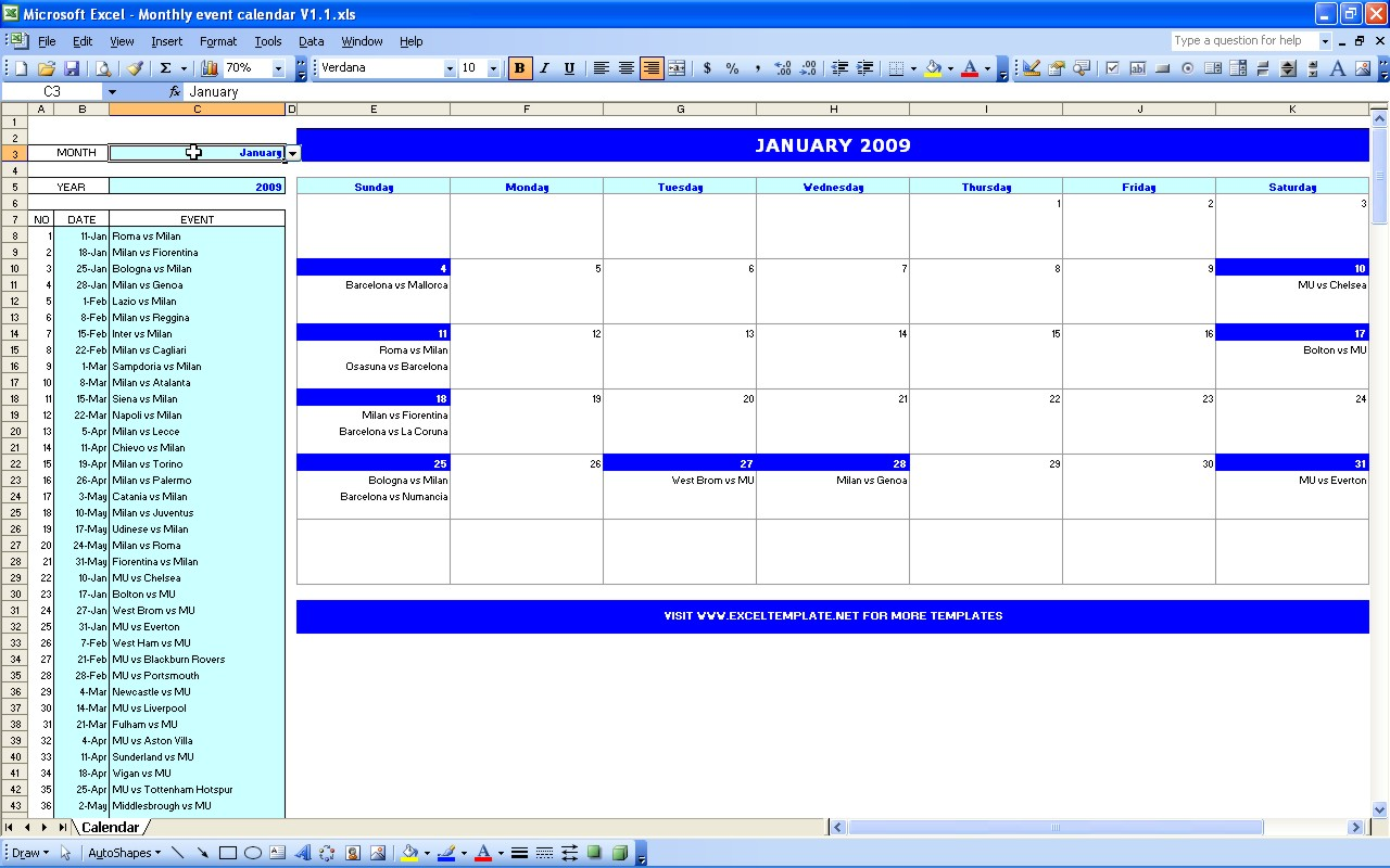 Monthly Event Calendar | Excel Templates