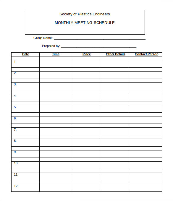 Monthly Work Schedule Template 26+ Free Word, Excel, PDF Format