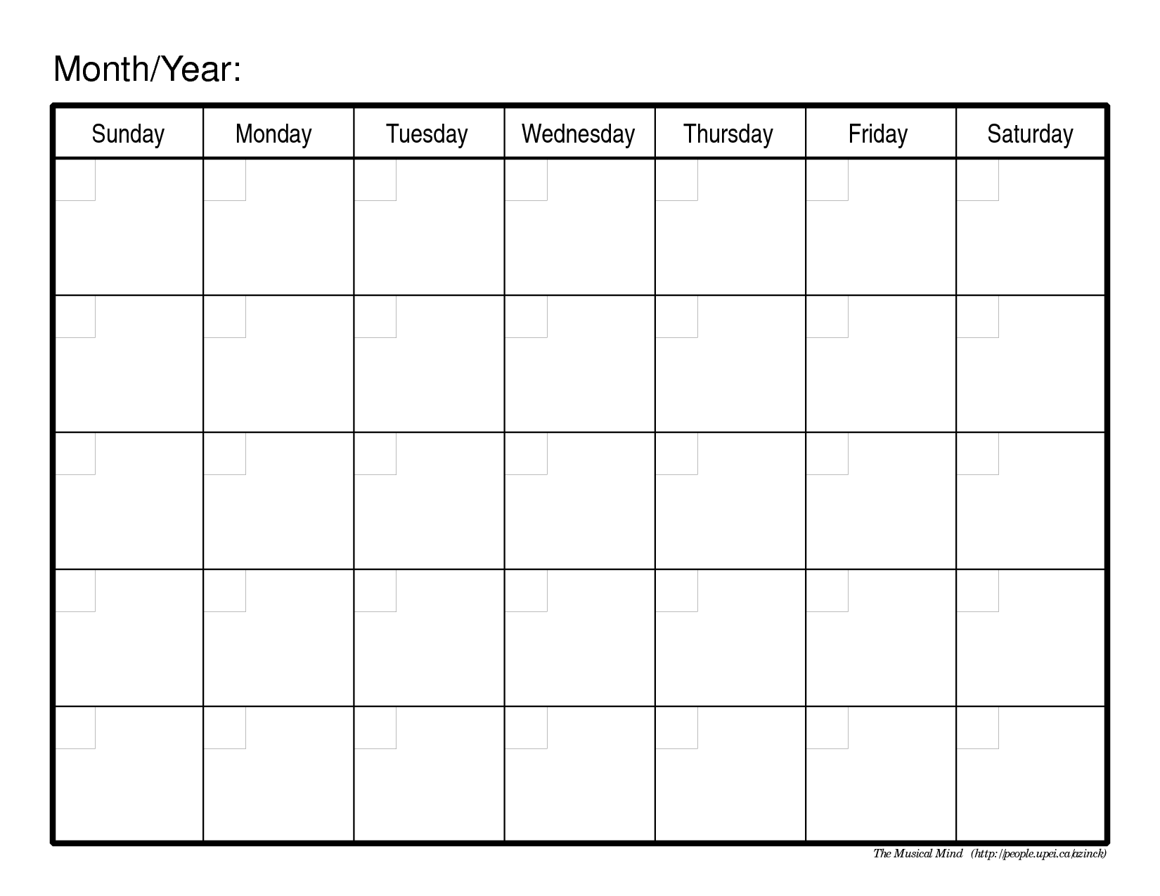 Monthly Calendar Template – 2017 printable calendar