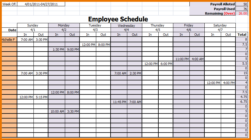 MONTHLY WORK SCHEDULE TEMPLATE | Proposalsheet.com