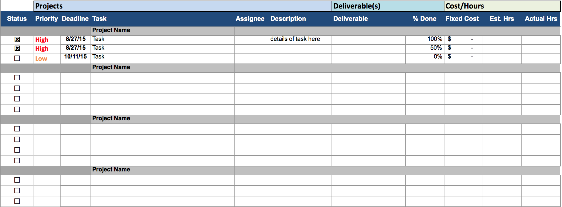 Multiple project tracking template excel task list templates for Managing multiple projects template