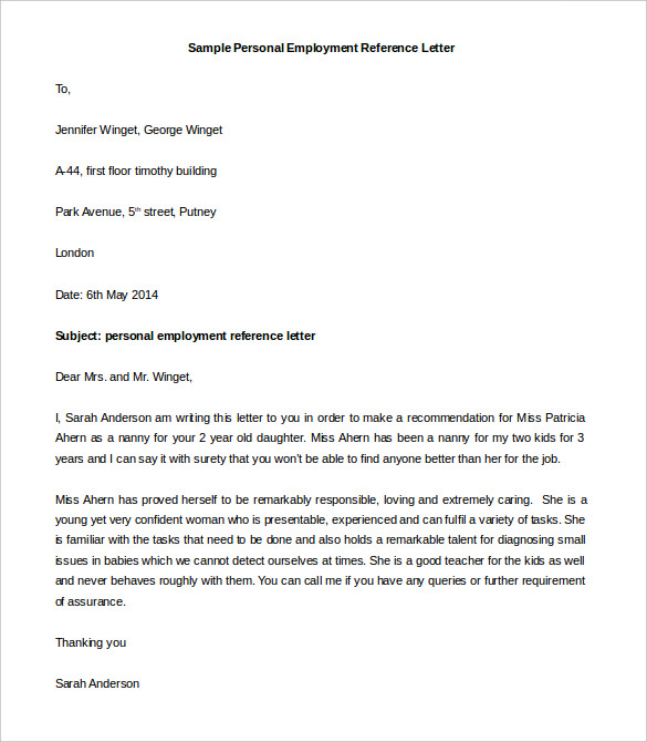 Formal Personal Reference Letter Template Sample Free Download