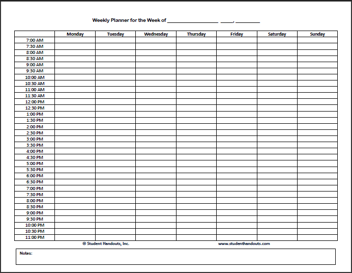 Free Printable Weekly Hourly Daily Planner   Student Handouts
