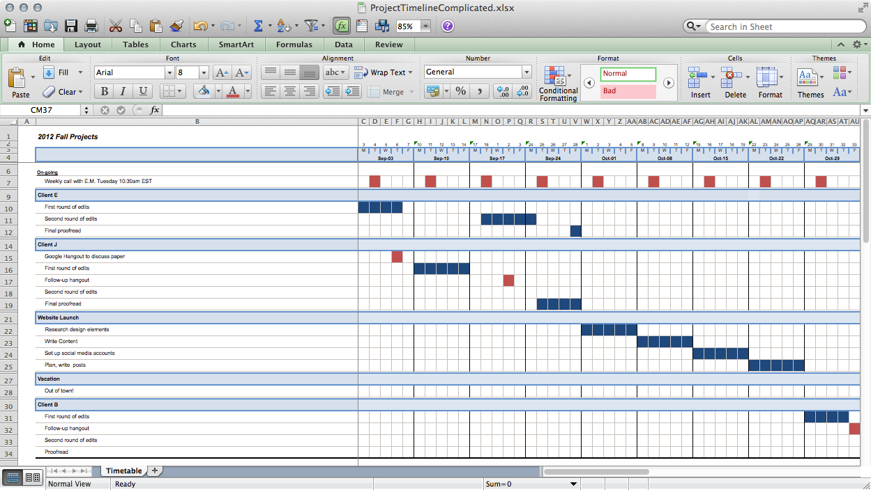 project schedule template excel