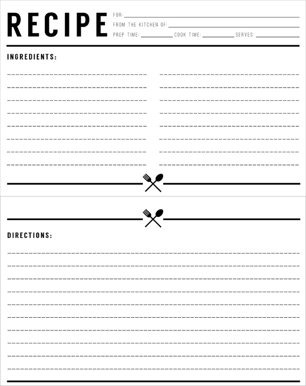 Recipe Card Template. Kitchen Recipe Card Template 17+ Recipe Card
