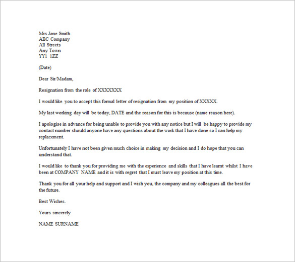 Email Resignation Letter Template – 10+ Free Word, Excel, PDF