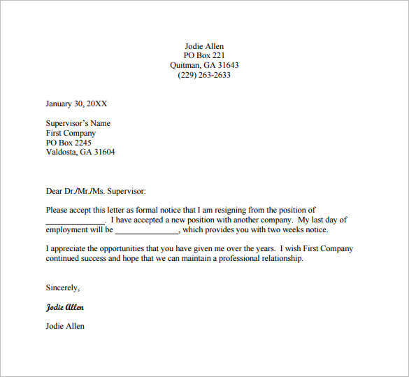 Email Resignation Letter Template 19+ Free Sample, Example