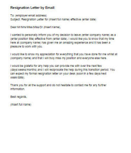 Resignation Letter by Email Sample | Just Letter Templates