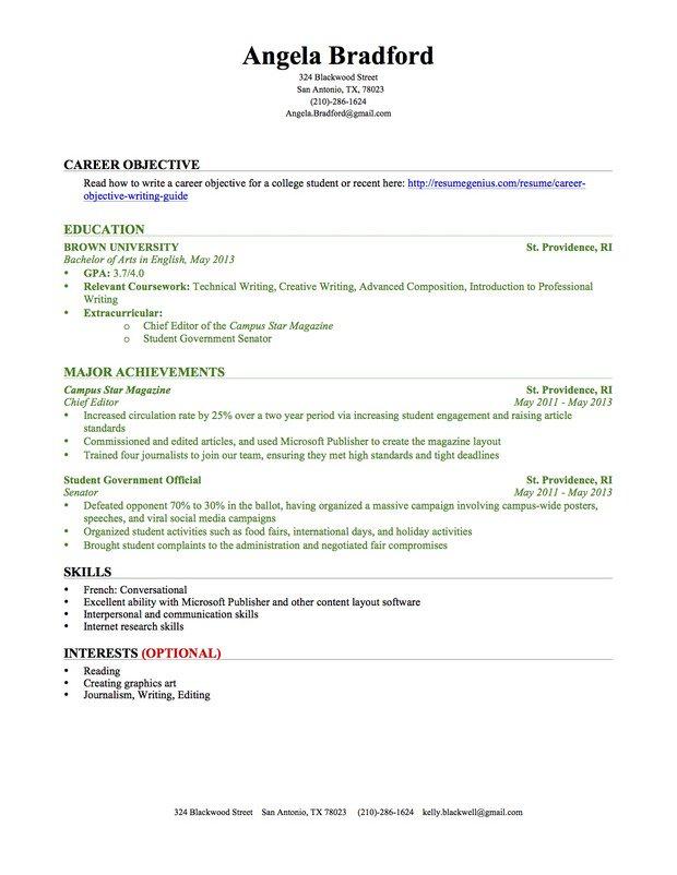 Student resume examples, graduates, format, templates, builder