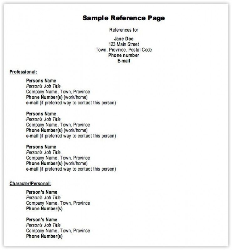 Sample Of Reference Page sample resume format