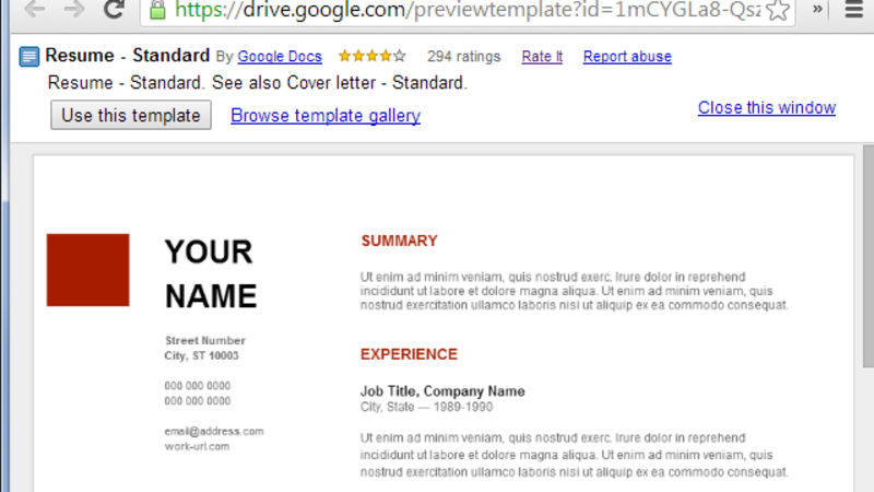 Use Google Docs' Resume Templates for a Free, Good Looking Resume