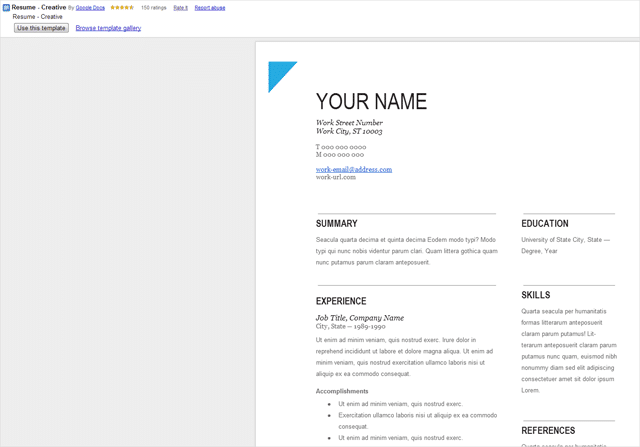 google doc templates resume how to create professional looking