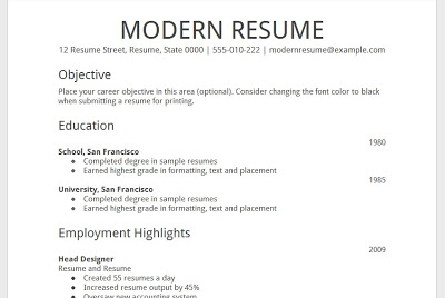 Resume Examples. free modern resume template google docs summary