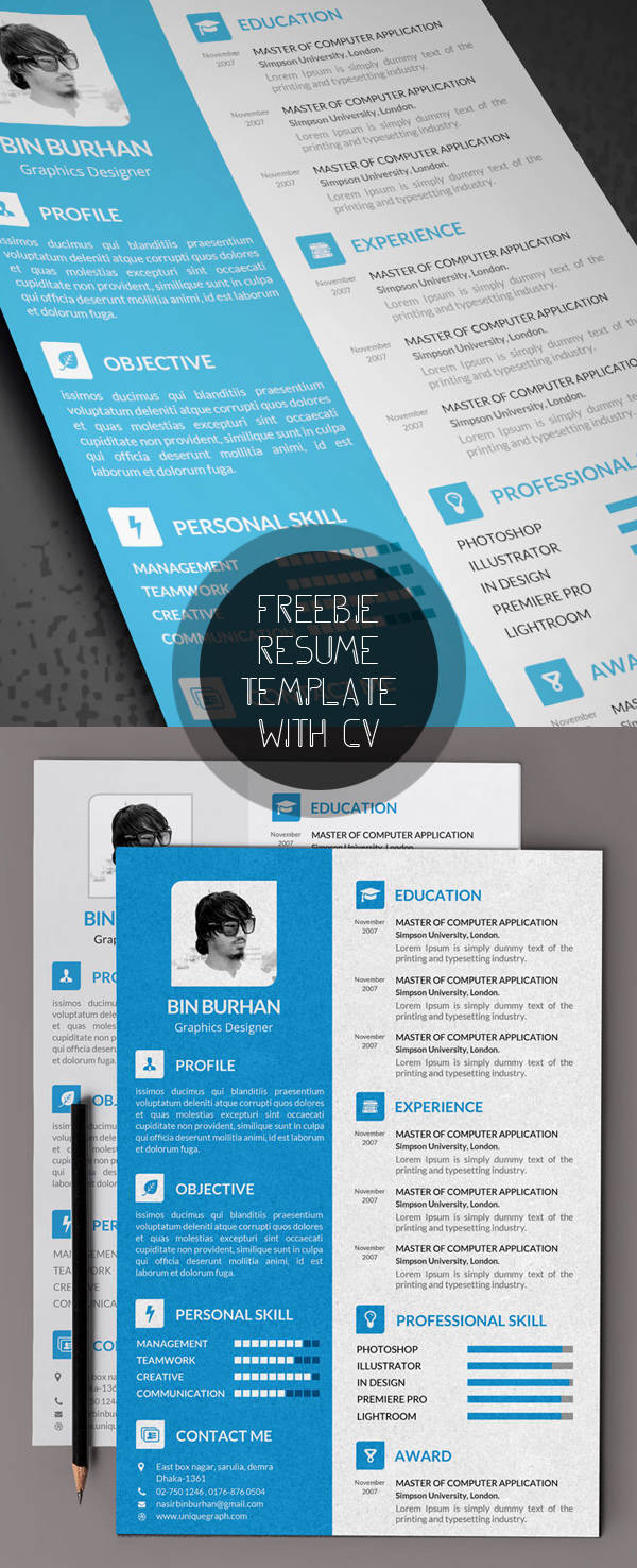 Free Modern Resume Templates & PSD Mockups | Freebies | Graphic