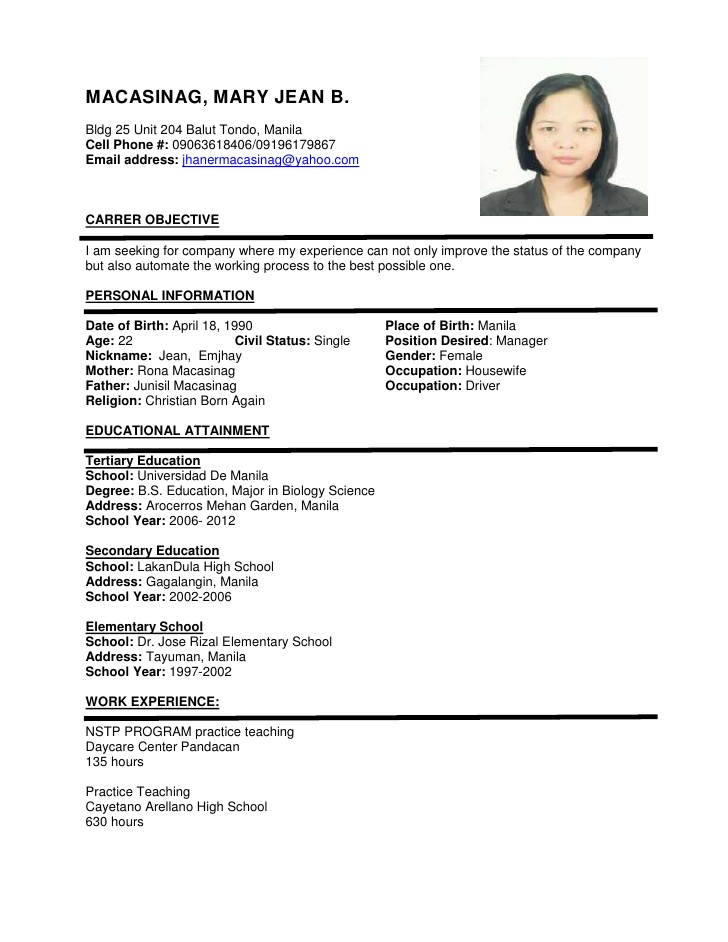 Sample Resume Format